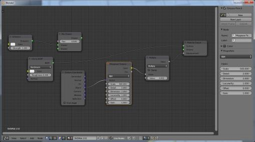Cycles material node setup for rough surface texture.